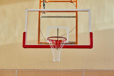 Basketball backboard in gym