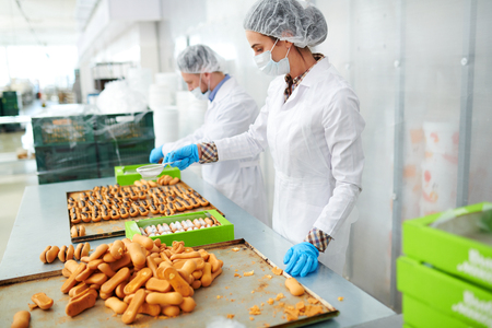 Confectionery factory employees at work