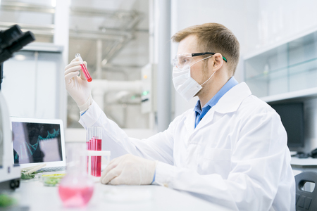 Scientist looking at test tube with solution Imagens