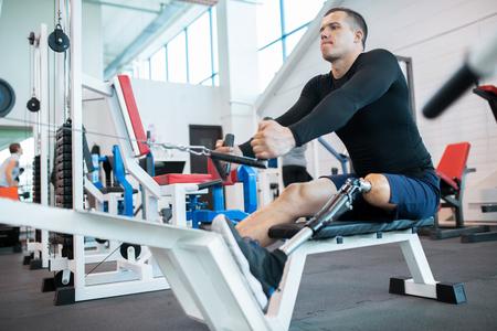 Adaptive Athlete Using Rowing Machine 写真素材