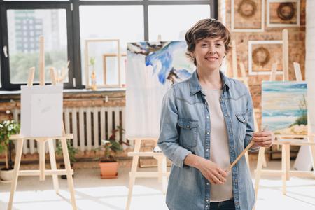 Female Artist Posing in Studio