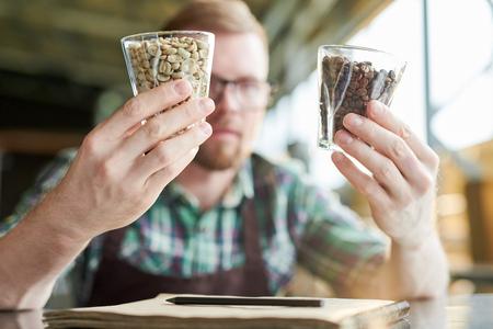 Barista Examining Coffee Beans