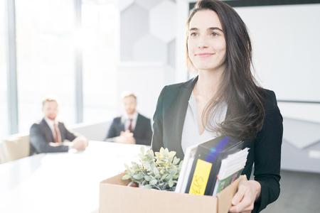 Happy Businesswoman Leaving Job