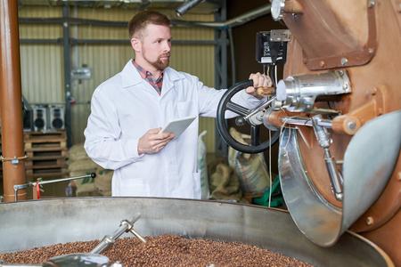 Worker Roasting Coffee