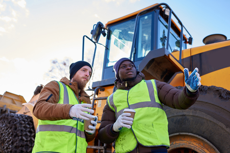 Two Workers Taking Break