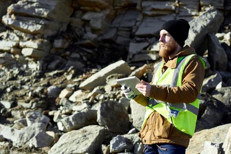 Miner in Quarry 스톡 콘텐츠