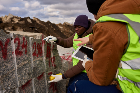 Two Workers Marking Granit Stock Photo