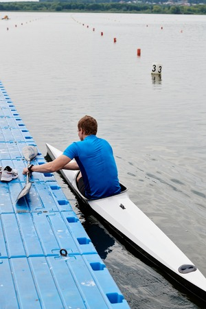 Kayaker in kayak in the water