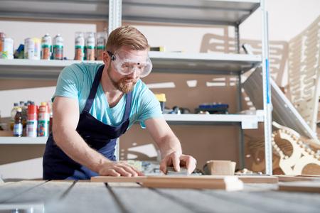 Carpenter at workshop Stock Photo