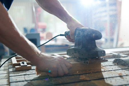 Carpenter working with tool Stock Photo - 107763160