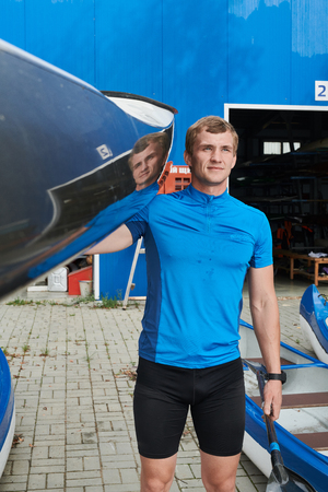 Athlete with his equipment