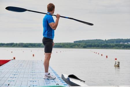 Sportsman on the pier 写真素材 - 108510742