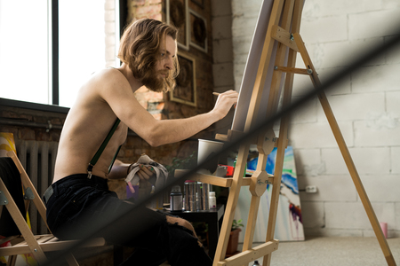 Male Artist in Studio Stock Photo