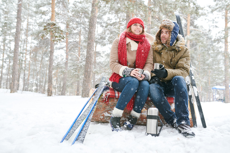 Couple Taking Break from Skiing