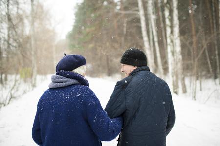 Pareja mayor, en, invierno, bosque, vista trasera