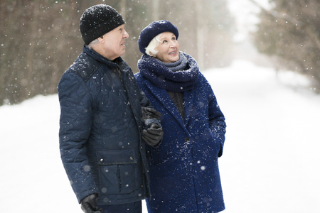 Mature Couple in Winter Forest Stockfoto