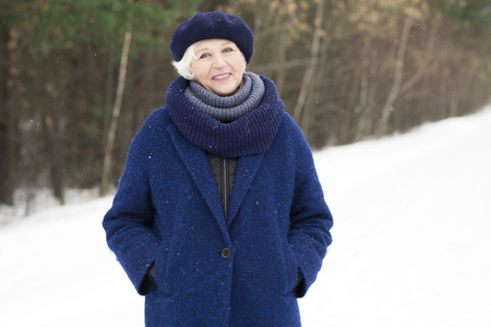 Portrait of Senior Woman in Winter