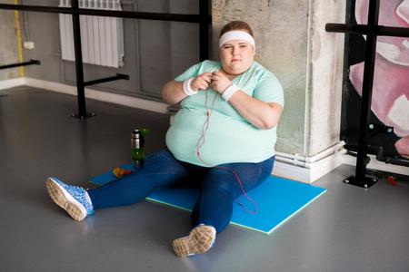 Obese Woman Taking Break Stock Photo