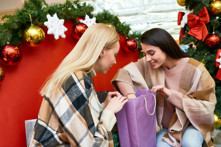 Girl bragging about shopping Stock Photo