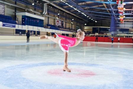 Talented Little Girl Figure Skating Banco de Imagens