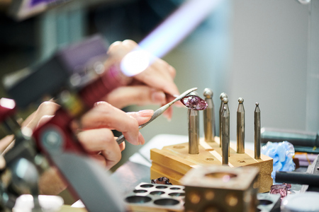 Artisan Forming Glass Stock Photo