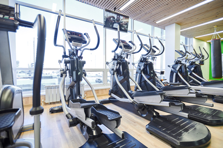 Modern ellipticals in gym