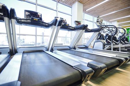 Modern treadmills in gym