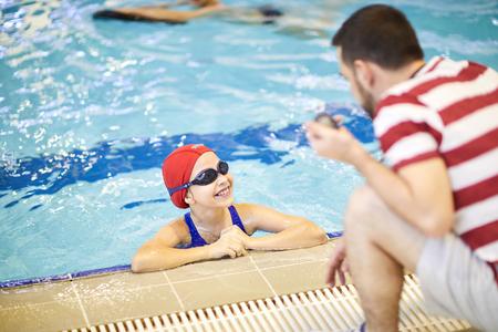 Child at swimming lesson