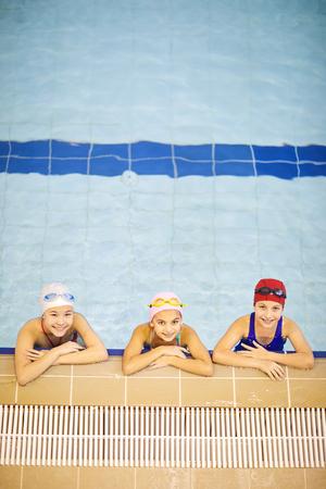Group of children swimming