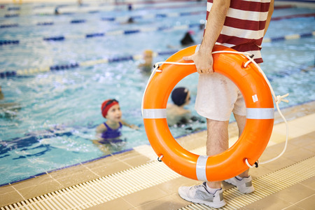 Swim trainer with lifeline