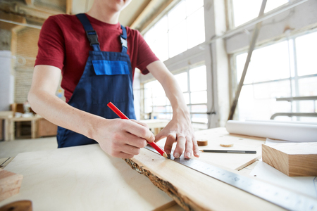 Making marks on wooden plank Stock fotó - 116766458