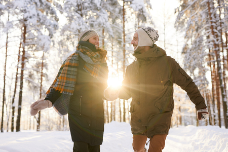 Adult Couple Enjoying  Winter