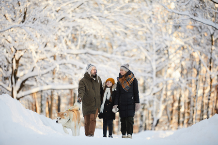 Family Walking Dog in Winter Park Stok Fotoğraf