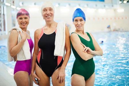 Three Senior Women at Swimming Pool