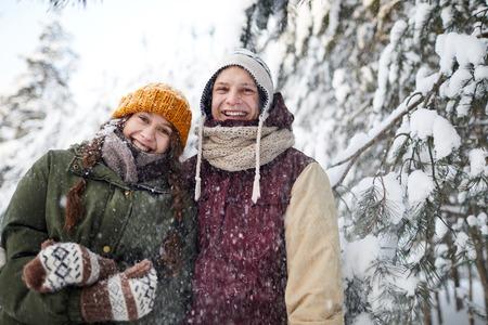 Couple in Snowfall Archivio Fotografico