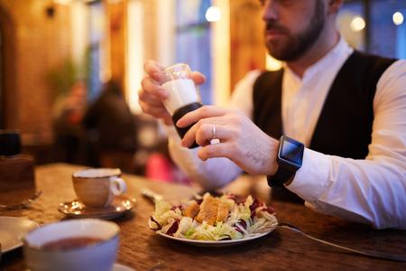 Businessman Eating in Restaurant Stok Fotoğraf
