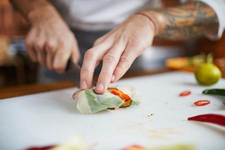 Chef Cooking Vegetarian Food