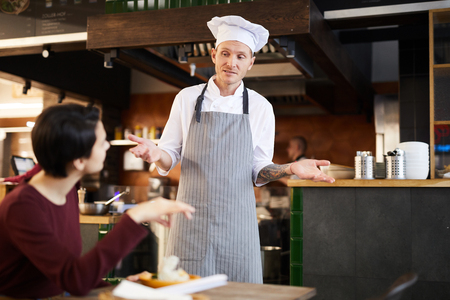 Client Complaining in Restaurant Stockfoto