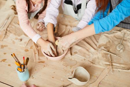 Kids in Pottery Workshop