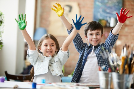 Kids Having Fun with Paint
