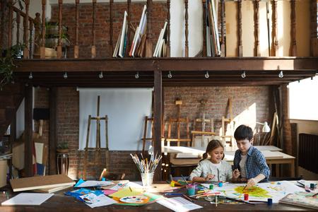 Kids Painting in Art Studio Reklamní fotografie