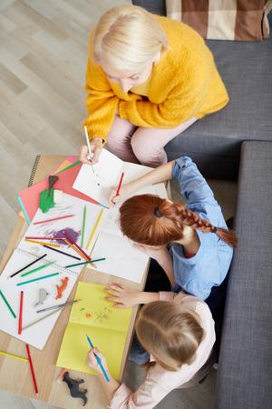 Two Girls Making Handmade Cards