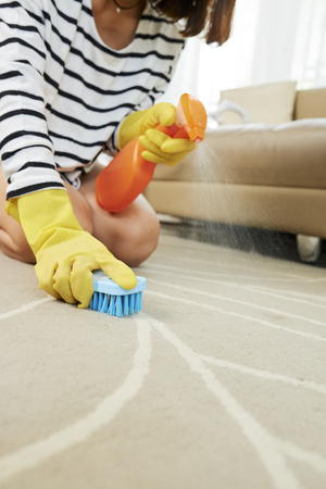 Close-up image of housewife spraying carpet with detergent and brushing it