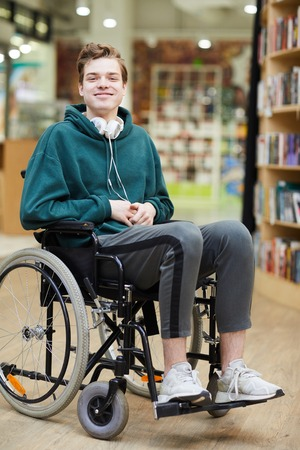 Satisfied student in wheelchair