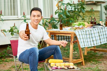 Man enjoying barbecue