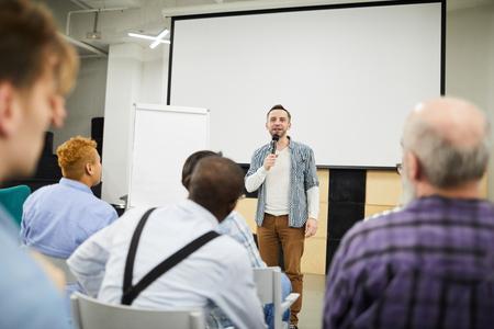 Startup entrepreneur presenting his project at conference Banco de Imagens
