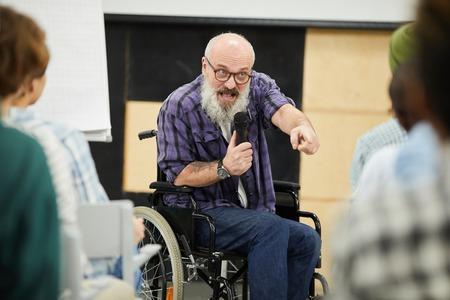 Motivational disabled speaker at conference Banco de Imagens