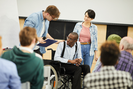 Live interaction with disabled young scientist Stockfoto