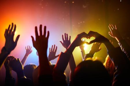 Fan che agitano le mani al concerto