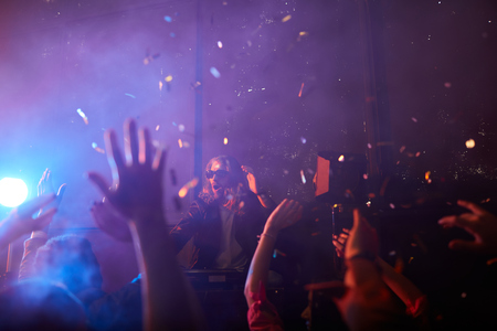 Incendiary atmosphere at performance of dj